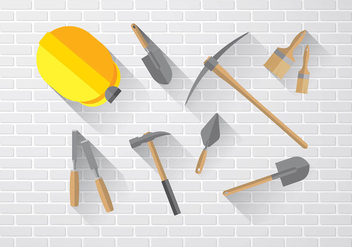 Masonry Icon Set Flat Free Vector - бесплатный vector #414111
