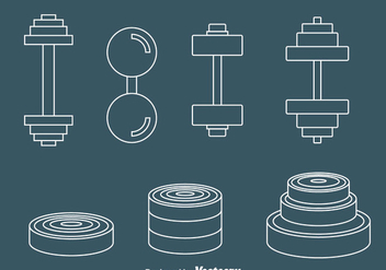 Dumbell Line Icons Vector - vector gratuit #414391