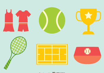 Tennis Flat icons Vector - бесплатный vector #414411