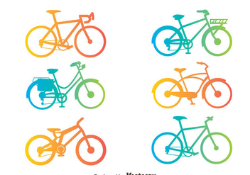 Gradient Bicycle Silhouette Vector Set - Kostenloses vector #414421