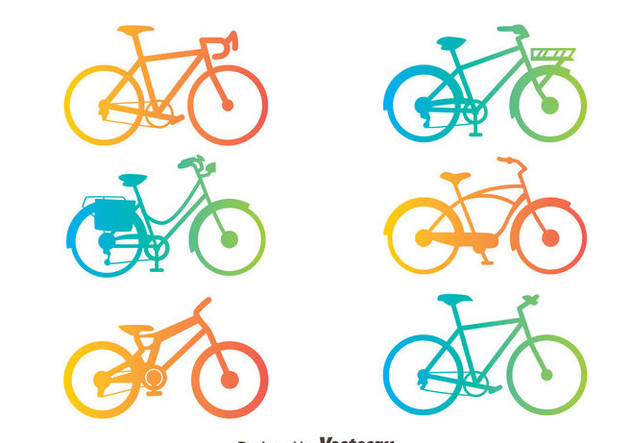 Gradient Bicycle Silhouette Vector Set - Free vector #414421
