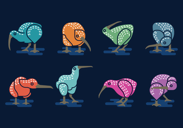 Set Vector Image of Nice Kiwi Birds Minimalist style - vector gratuit #414441