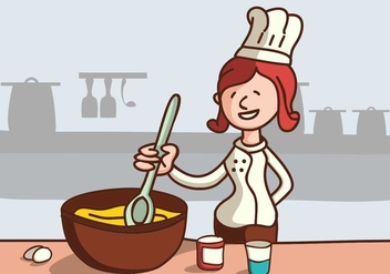 Chef Mixing Some Cake - vector gratuit #414651