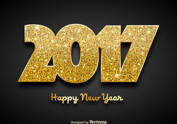 Golden 2017 Happy New Year Background - Vector - Kostenloses vector #414681