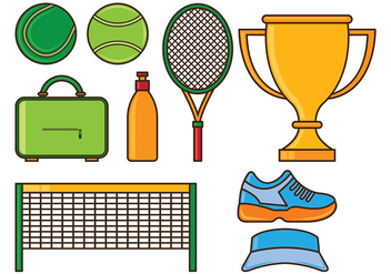 Set Of Tennis Icons - Free vector #414901