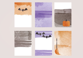 Vector Halloween Watercolor Cards - бесплатный vector #414981