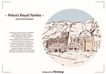Petra's Royal Tombs Vector Background - Free vector #415201