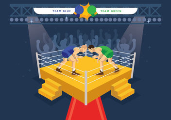 Free Wrestling Ring Illustration - бесплатный vector #415401