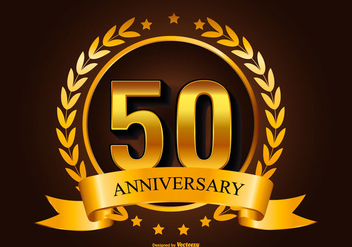 Golden 50th Anniversary Illustration - vector #415451 gratis