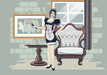 Vector Illustration of Woman in Classic Maid Dress Costume - vector gratuit #415501