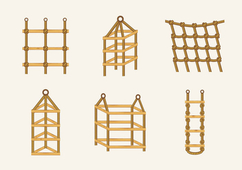 Rope ladder knot wood stairs vector stock - vector gratuit #415591