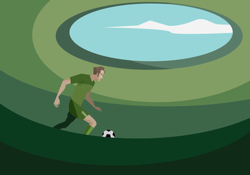 A Football Player in the Football Ground Vector - Free vector #415791