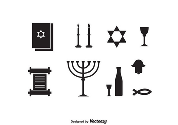 Shabbat Black Icons - Free vector #415861