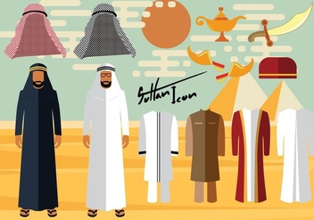 Arab Man Clothes And Accessories - vector gratuit #415891
