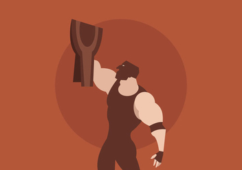 Masked Wrestler With Wrestling Champion Belt Vector - vector gratuit #416171