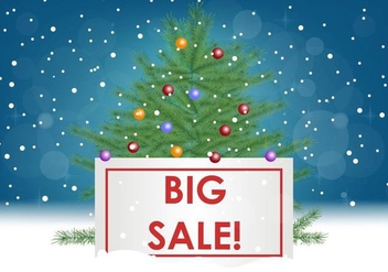 Big Sale With Sapin Tree - Free vector #416371
