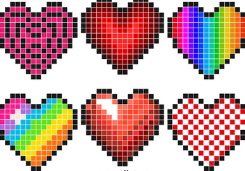 Vector Set Of Pixel Hearts - Free vector #416461