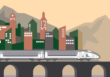 Train Background City Vector - vector gratuit #416721