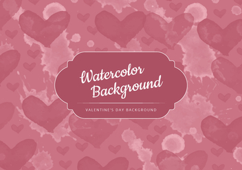 Vector Watercolor Hearts Valentine's Day Background - vector gratuit #416971
