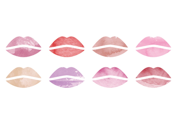 Vector Watercolor Lips Collection - бесплатный vector #416981