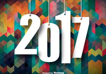 Colorful Background For 2017 New Year Celebration - vector #417031 gratis