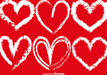 Vector Hand-Drawn Hearts Set - vector gratuit #417241