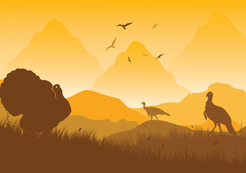 Wild Turkey Scene Vector - бесплатный vector #417271
