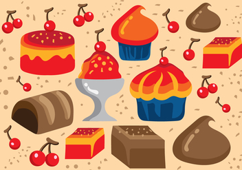 Desserts and Sweets Illustration - Free vector #417501
