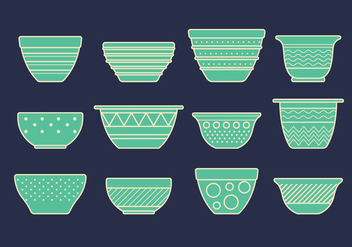 Vector Set of Mixing Bowls - vector gratuit #417671