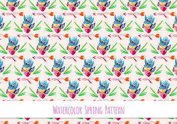 Free Vector Floral Pattern With Cute Bird - vector gratuit #417801