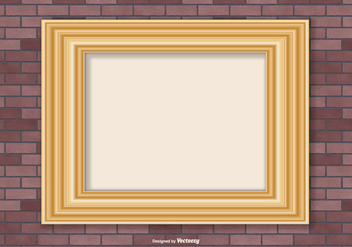 Gold Frame on Brick Wall Background - Free vector #418131