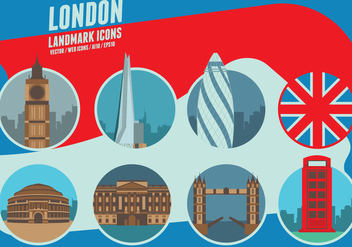 London Landmarks Icons - vector #418271 gratis