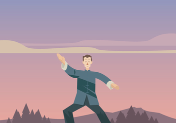 Wushu Master Practicing in the Afternoon Vector - Free vector #418361