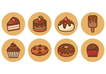 Free Chocolate Cake Outline Icons Vector - vector #418421 gratis