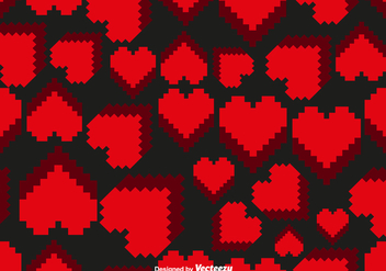Vector Pixelated Hearts Seamless Pattern - Free vector #418541