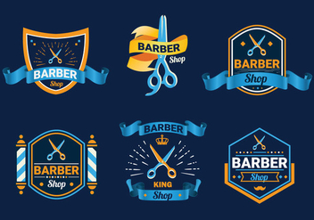 Scissors label barber shop logo vector - Free vector #418661