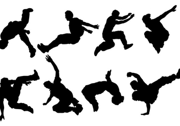 Break Dancing Siluetas Icons Vector - Free vector #418801