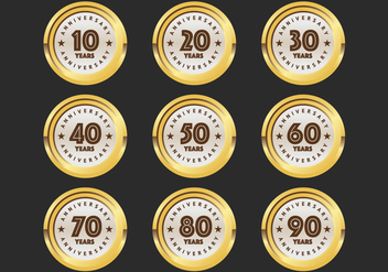 10th to 90th anniversary badges - бесплатный vector #418841