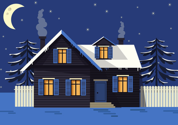 Free Night Landscape Vector House - бесплатный vector #418991