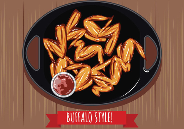 Buffalo Wings with Sauce on the Table Top View - vector gratuit #419101