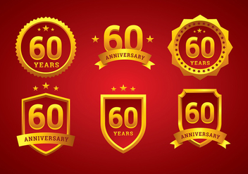 60th Anniversary Logo Gold Free Vector - бесплатный vector #419121