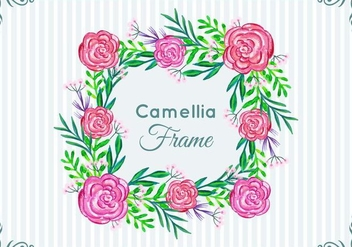 Beautiful Free Vector Camellia Frame - vector #419261 gratis