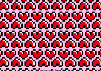 Vector Pixelated Heart Seamless Pattern - Free vector #419291