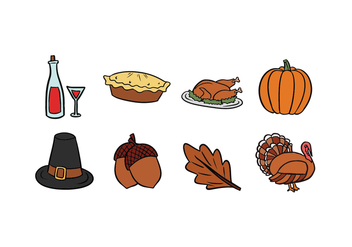 Thanksgiving Hand-Drawn Icons - Free vector #419541