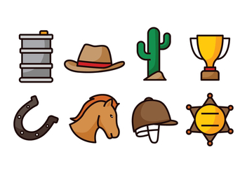 Barrel Racing Icon Set - Free vector #419561