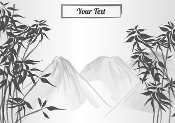 Bamboo Scene In Ink Paint - vector gratuit #419801