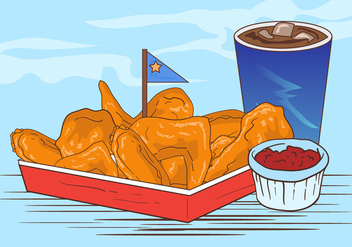 Buffalo Wings With Sauce And Soft Drink - vector #419821 gratis