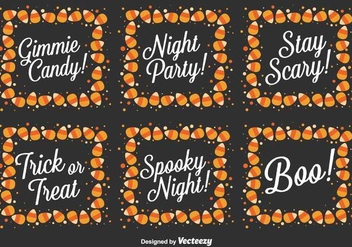 Vector Set Of Halloween Messages - Free vector #419931