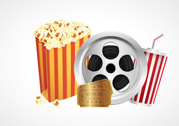 Cinema Popcorn Box Vectors - vector #420091 gratis