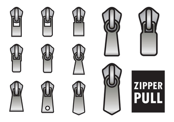 Outlined Zipper Pull Vectors - vector #420131 gratis
